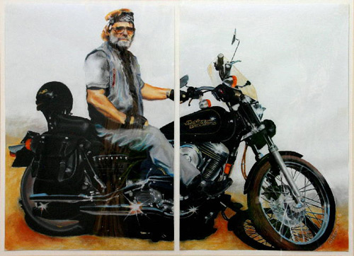 HARLEY DUDE-DIPTYCH (32.25X40) PASTEL on PAPER