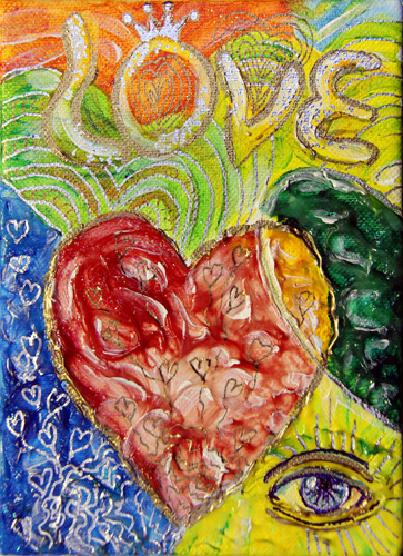 HEART 2 HEART G (7X5) ACRYLIC & PEN on CANVAS
