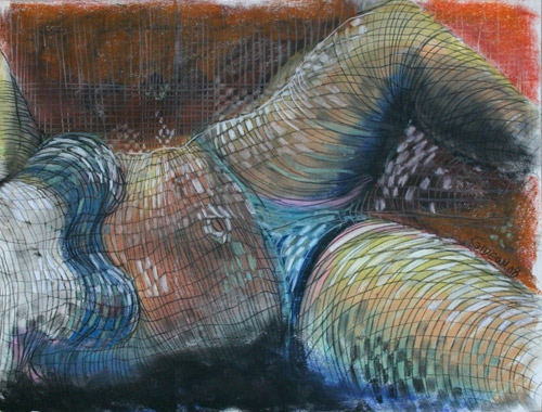 LINES & CURVES VI (18X24) CHARCOAL & PASTEL on PAPER