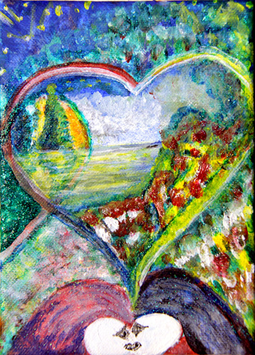 HEART 2 HEART M (7X5) ACRYLIC & PEN on CANVAS