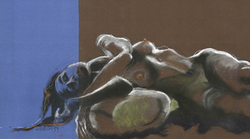 RECLINING FIGURE-DIPTYCH (19X34) CHARCOAL-PASTEL on PAPER
