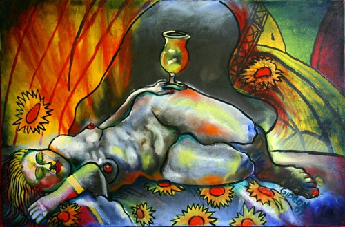 NUDE WITH WINE GLASS (24X36) OIL on CANVAS