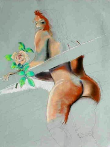 ROSIE'S ROSE (25.5x19.5) PASTEL on PAPER