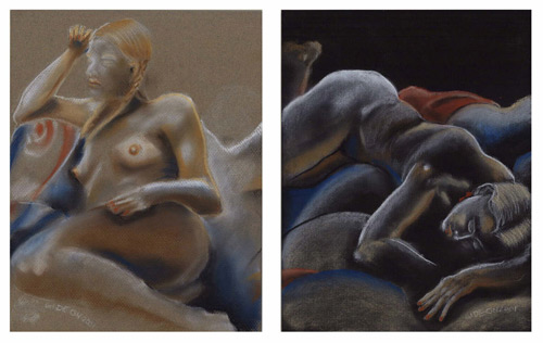 TWO FIGURES-DIPTYCH (12X19) CHARCOAL-PASTEL on PAPER