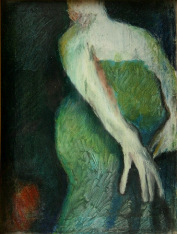 WOMAN IN GREEN (20X15) OIL PASTELS on CANVAS
