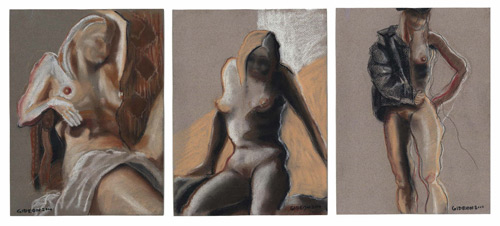 THREE FIGURES-TRIPTYCH (12X28) CHARCOAL-PASTEL on PAPER