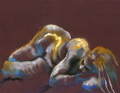 RECLINING FIGURE IN YELLOW (19X25) CHARCOAL-PASTEL on PAPER