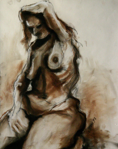 SITTING NUDE X (25.5X19.5) CHARCOAL & PASTEL on PAPER