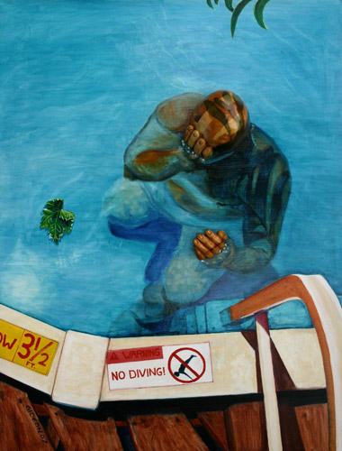 NO DIVING (48X36) WOOD, ACRYLIC & OIL on BOARD