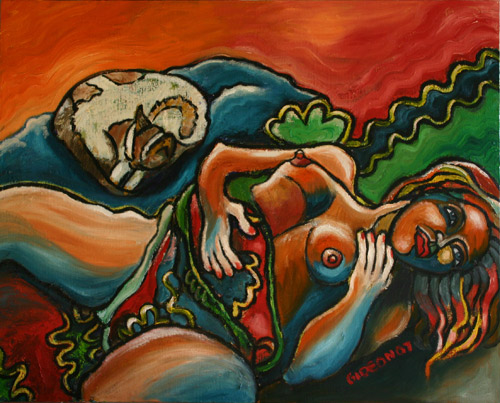RECLINING WOMAN WITH CAT (24X30) OIL on CANVAS