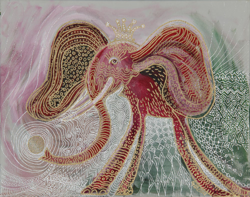 LAND OCTOPUS (16 X 20) ACRYLIC & PEN on CANVAS