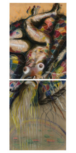 FUSION II - DIPTYCH (46X18) CHARCOAL-PASTEL on PAPER