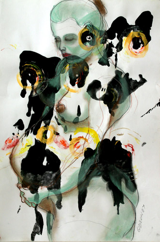 HOLISTIC GESTATION I (40X26.5) ACRYLIC & PASTEL on PAPER