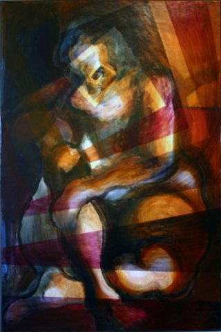 SITTING NUDE II (40X26) OIL on PLYWOOD