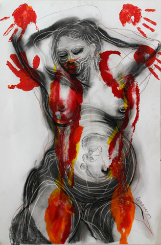 HOLISTIC GESTATION III (40X26.5) ACRYLIC & PASTEL on PAPER