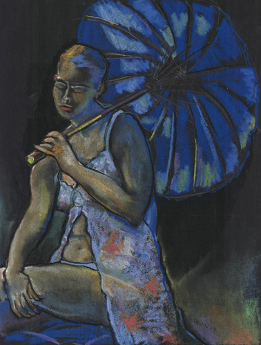 BLUE UMBRELLA (25X19) CHARCOAL-PASTEL on PAPER