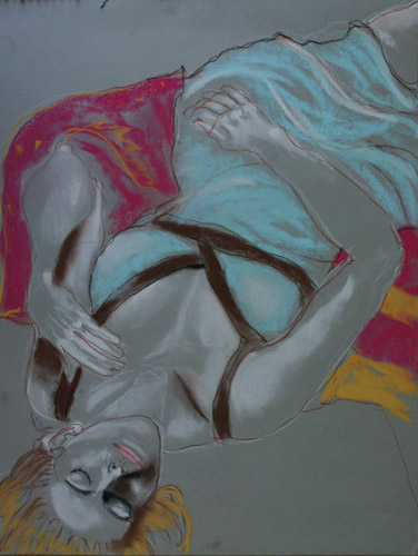 RECLINING FIGURE (24 X 18) PASTEL on PAPER
