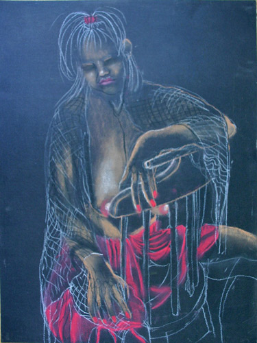 SITTING FIGURE (24 X 18) PASTEL on PAPER