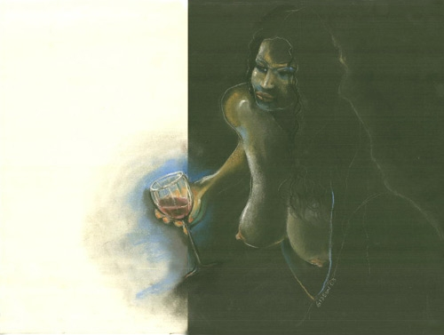 POUR THE WINE, DIG THAT GIRLDIPTYCH (24X32) CHARCOAL-PASTEL on PAPER