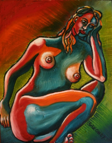 SITTING WOMAN FIXED IN MOTION (30X24) OIL on CANVAS