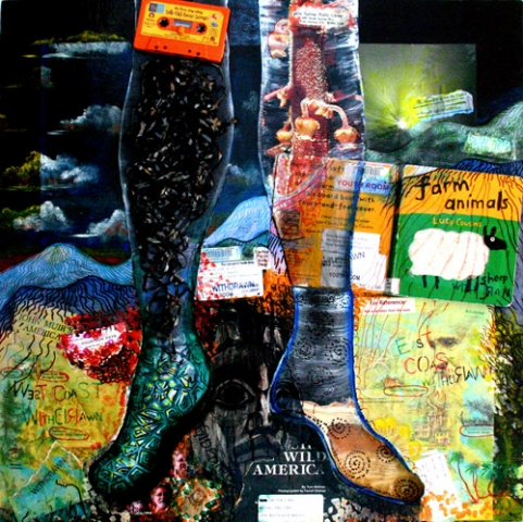 ELEMENTS - EARTH - MY FEET ARE GROUNDED IN OUR SACRED LAND (24X24X2.75) MIXED MEDIA WOOD BOX