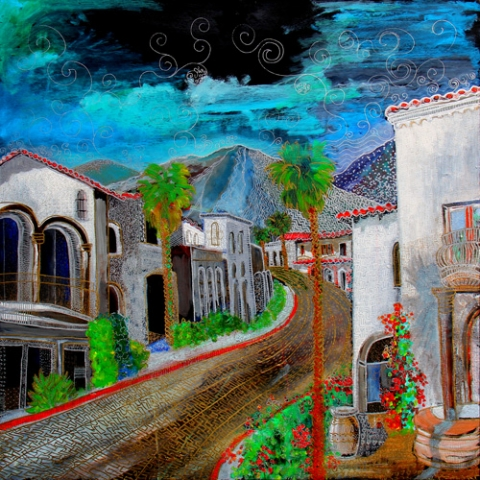 NEW OLD TOWN LA QUINTA (36 X 36) ACRYLIC & PEN on BOARD