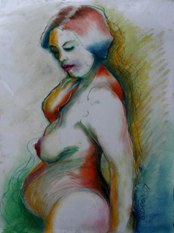 PREGNANT NUDE (23X17) OIL PASTELS & PASTEL on PAPER