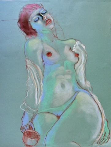 RECLINING FIGURE WITH COFFEE MUG (24 X 18) PASTEL on PAPER