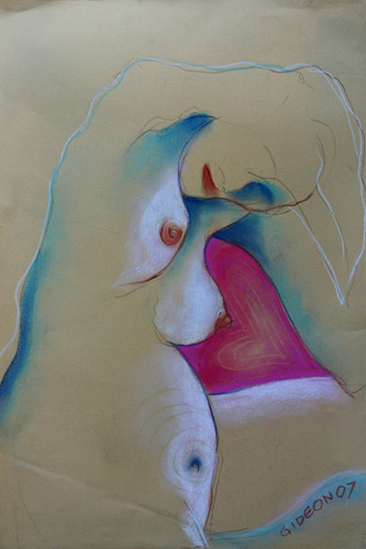 BABY LOVE (24X18) CHARCOAL & PASTEL on PAPER