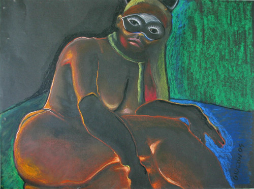 GIRL WITH MASK (18 X 24) OIL PASTEL on PAPER