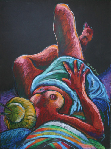 RECLINING NUDE (24 X 18) OIL PASTEL on PAPER