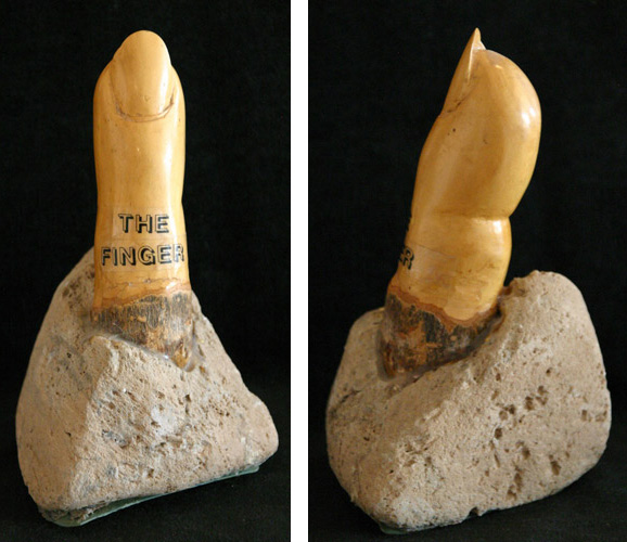 THE FINGER (7.5 X 4 X 4.5) WOOD & PUMPICE STONE