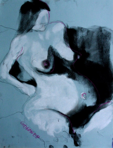 PREGNANT WOMAN 1 (24X18) CHARCOAL & PASTEL on PAPER