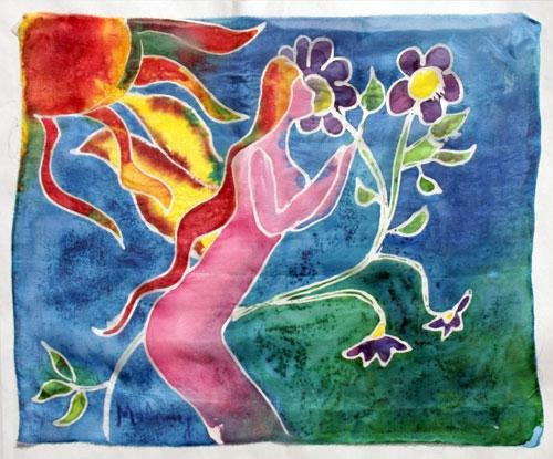 Figure (16x20) Dye on Silk