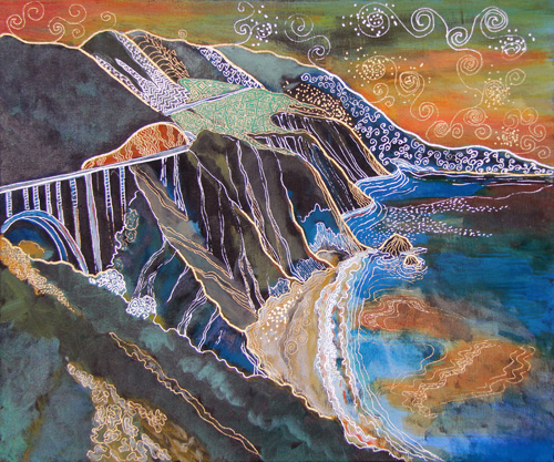 SUNSET OVER BIG SUR AND PCH (20 X 24) ACRYLIC & PEN on CANVAS