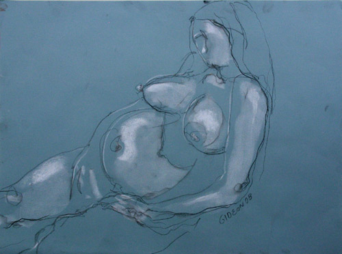 PREGNANT WOMAN 2 (18X24) CHARCOAL & PASTEL on PAPER