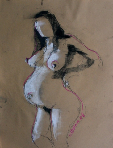 PREGNANT WOMAN 3 (24X18) CHARCOAL & PASTEL on PAPER