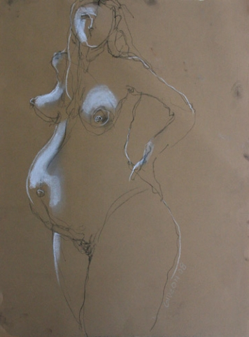 PREGNANT WOMAN 4 (24X18) CHARCOAL & PASTEL on PAPER