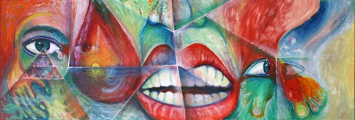 REFLECTIONS-TEAR OF BLOOD (12 X 36) OIL on CANVAS