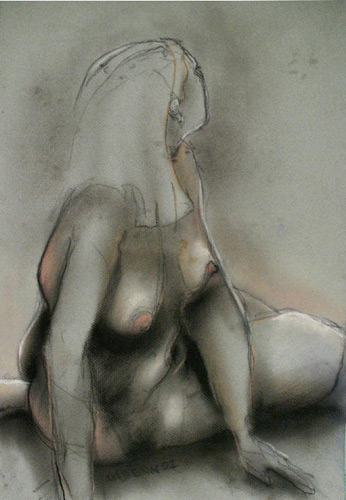 ESSEV LADY (18X12) CHARCOAL & PASTEL on PAPER