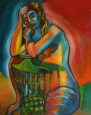 WOMAN REFLECTING IN CHAIR (30X24) OIL on CANVAS