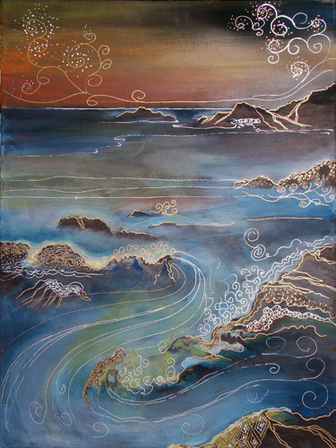 BIG SUR IN SUNSET (24 X 18) ACRYLIC & PEN on CANVAS