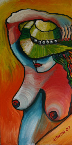 WOMAN WITH HAT (30X15) OIL on CANVAS