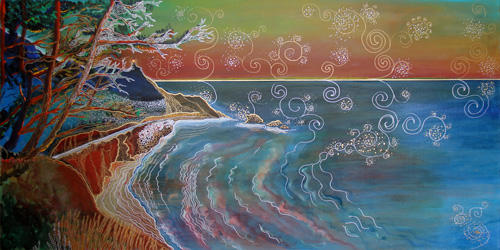 PANORAMA OF PCH AT BIG SUR (24 X 48) ACRYLIC & PEN on CANVAS
