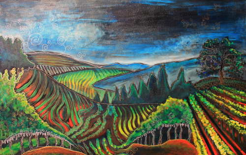 SILVERADO TRAIL (28 X 45) ACRYLIC & PEN on CANVAS