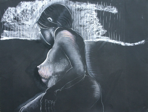LINES & CURVES III (18x24) CHARCOAL & PASTEL on PAPER