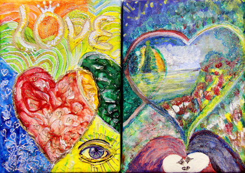 HEART 2 HEART M&G (7X5) ACRYLIC & PEN on CANVAS