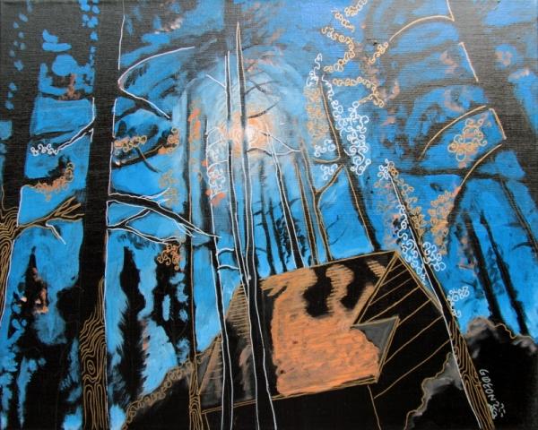 I-Dy IV, (16 X 20) Acrylic & Pen on Canvas